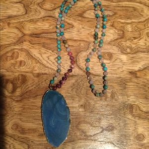 Genuine stone bead necklace with blue stone